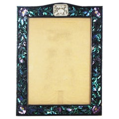 Chinese Export Lac Burgaute Inlaid Silver, Gold & Abalone Frame with Carved Jade