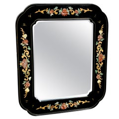 Chinese Export Lacquer and Hardstone Mirror