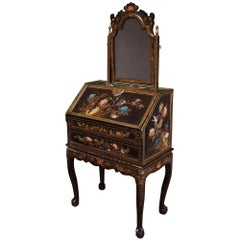 Chinese Export Lacquer Bureau on Stand and Toilet Glass Dressing Table