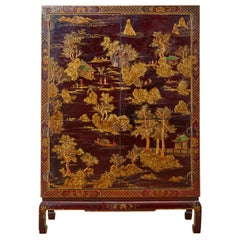 Chinese Export Lacquered Bar Cabinet on Stand