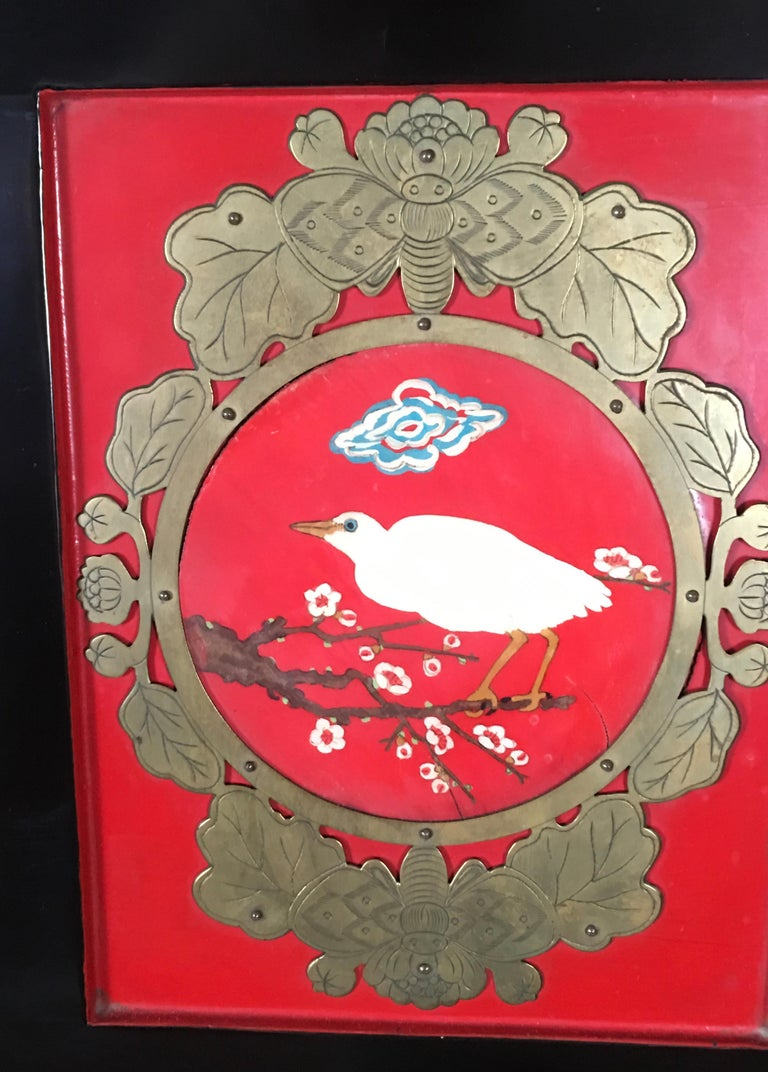 Chinese Export Lacquered Cabinet with Hand-Painted Bird Decorated Panels For Sale 13