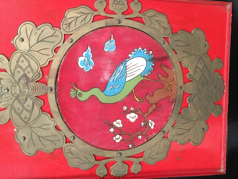 Chinese Export Lacquered Cabinet with Hand-Painted Bird Decorated Panels For Sale 1