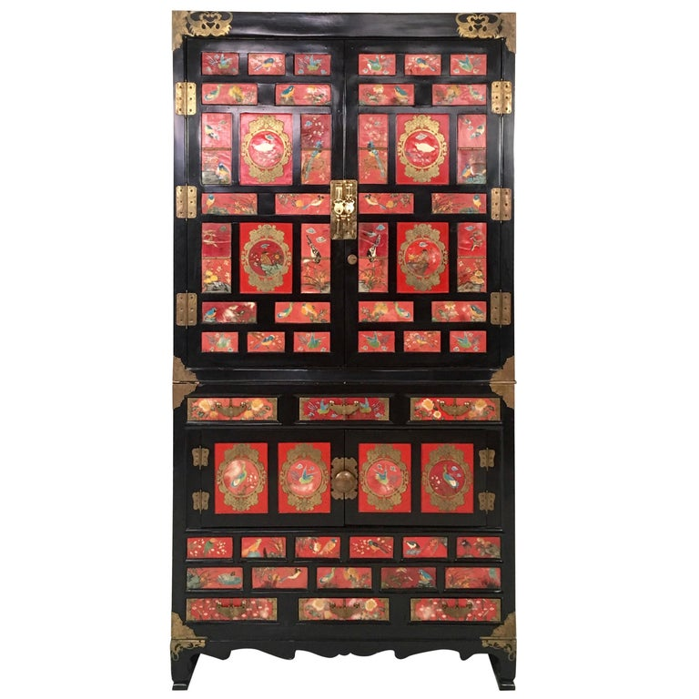 Chinese Export Lacquered Cabinet with Hand-Painted Bird Decorated Panels For Sale
