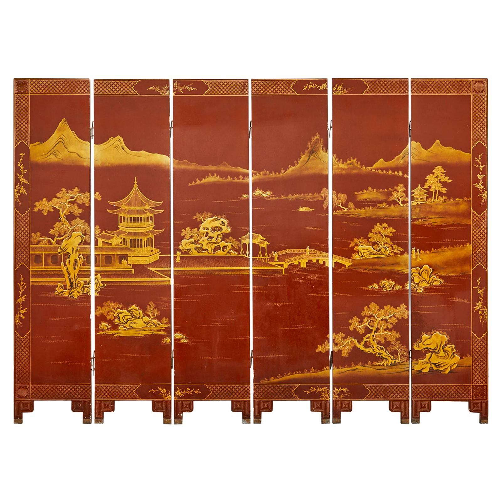 Chinese Export Lacquered Red Coromandel Six Panel Screen