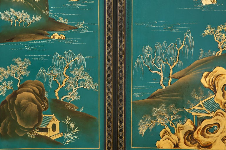 Chinese Export Lacquered Six Panel Coromandel Screen For Sale 7