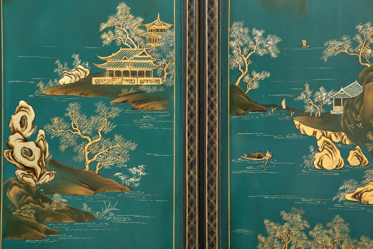Chinese Export Lacquered Six Panel Coromandel Screen For Sale 8