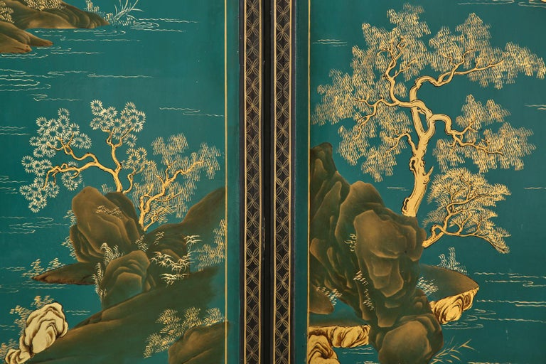 Chinese Export Lacquered Six Panel Coromandel Screen For Sale 9