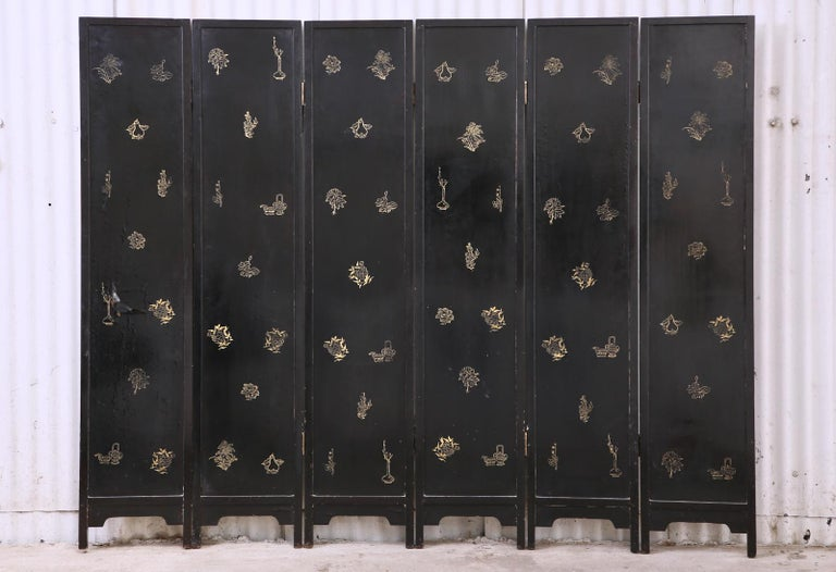 Chinese Export Lacquered Six Panel Coromandel Screen For Sale 15