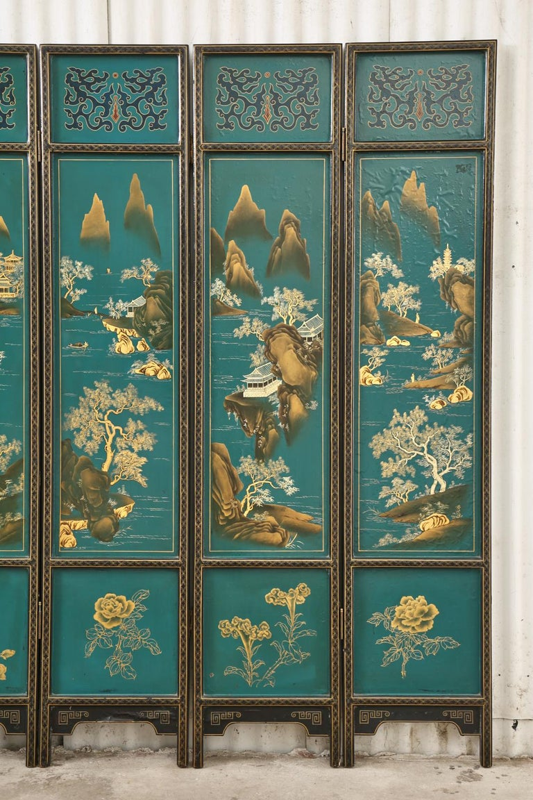 20th Century Chinese Export Lacquered Six Panel Coromandel Screen For Sale