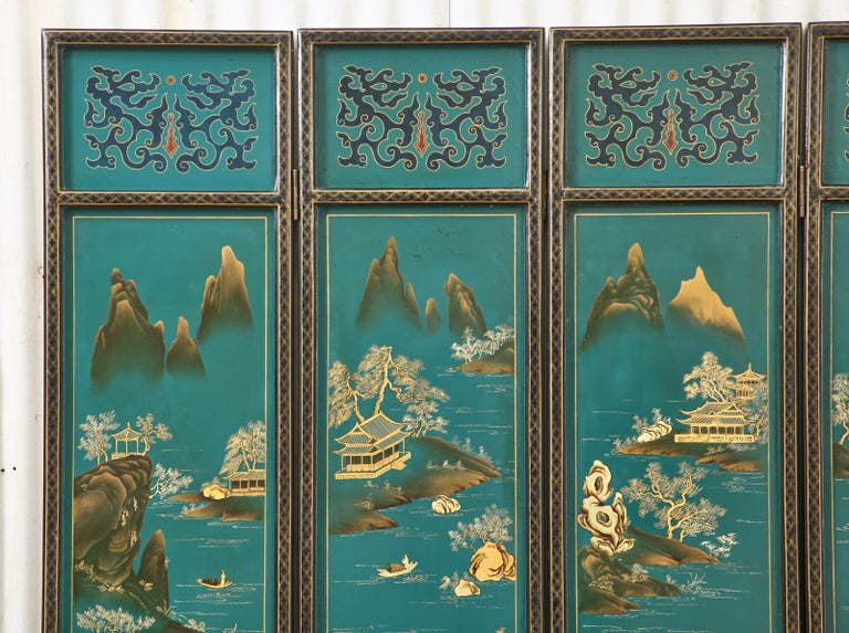 Wood Chinese Export Lacquered Six Panel Coromandel Screen For Sale