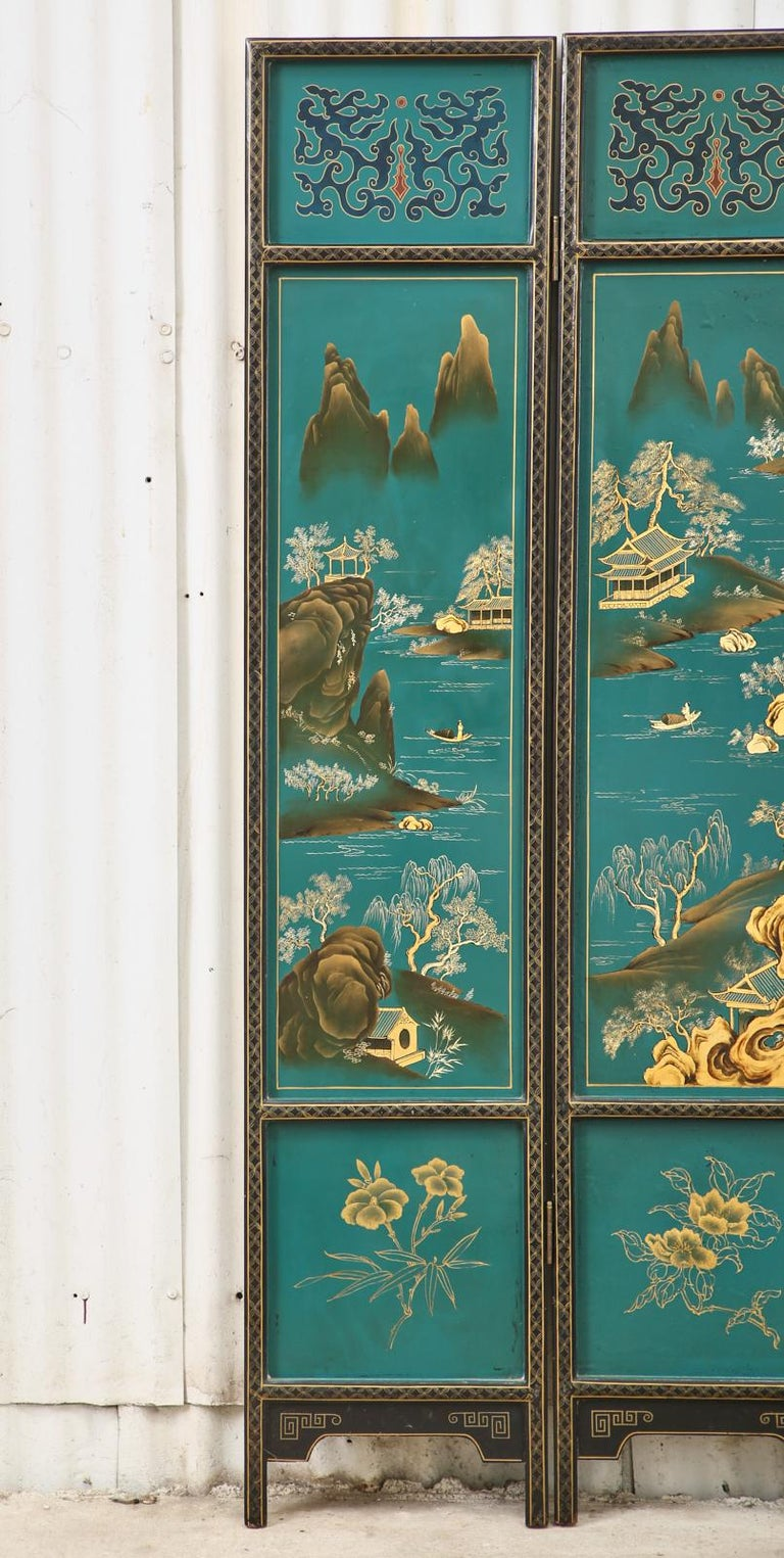 Chinese Export Lacquered Six Panel Coromandel Screen For Sale 2