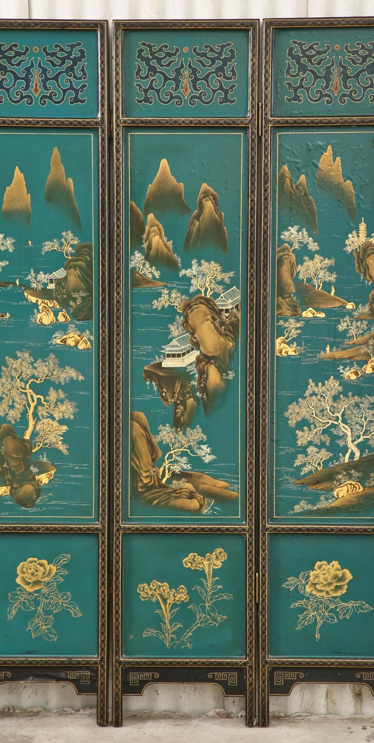 Chinese Export Lacquered Six Panel Coromandel Screen For Sale 3