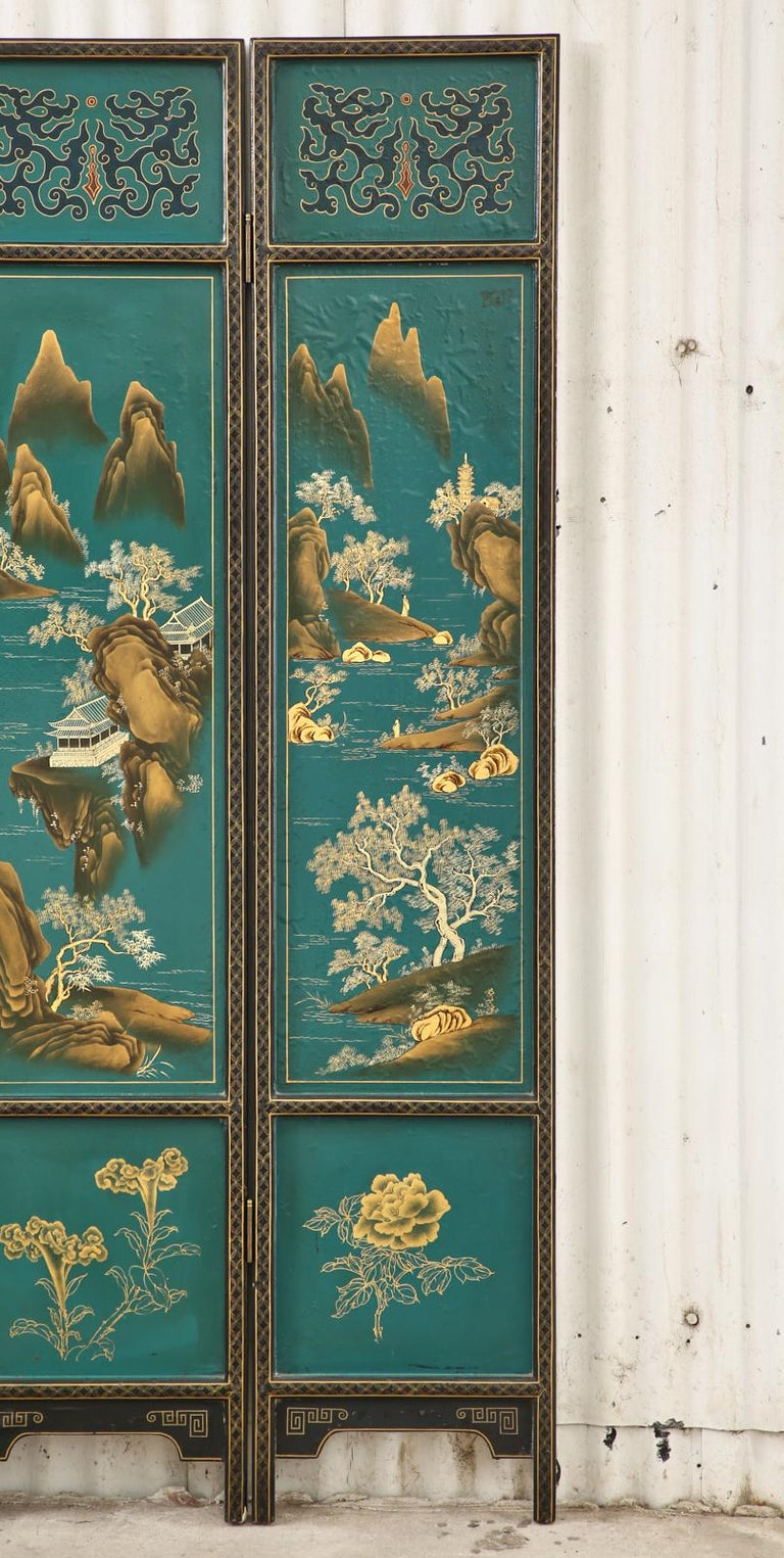 Chinese Export Lacquered Six Panel Coromandel Screen For Sale 4
