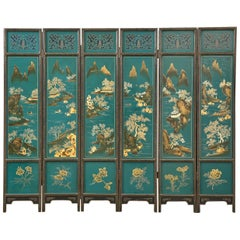 Chinese Export Lacquered Six Panel Coromandel Screen