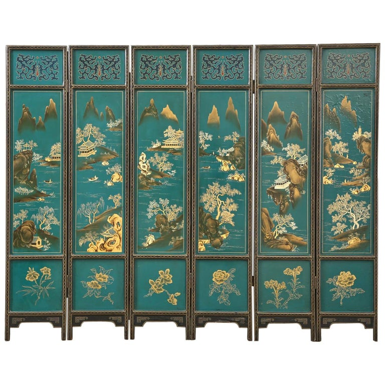 Chinese Export Lacquered Six Panel Coromandel Screen For Sale