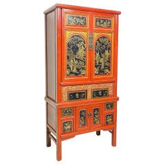Chinese Export Lacquered Two-Piece Cabinet