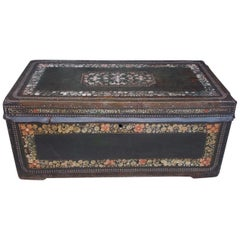 Chinese Export Leather Clad Polychrome and Painted Camphor Wood Trunk. C. 1820