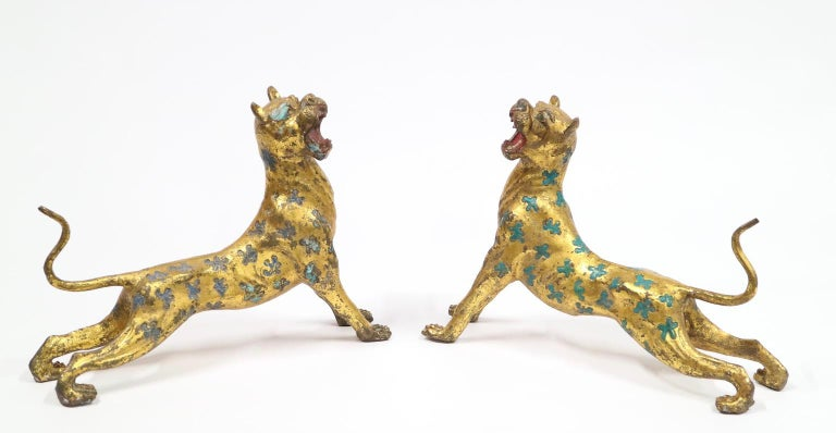 Chinese Export Leopard Cheetahs in Gilt Bronze with Blue and Turquoise Enamel For Sale 1