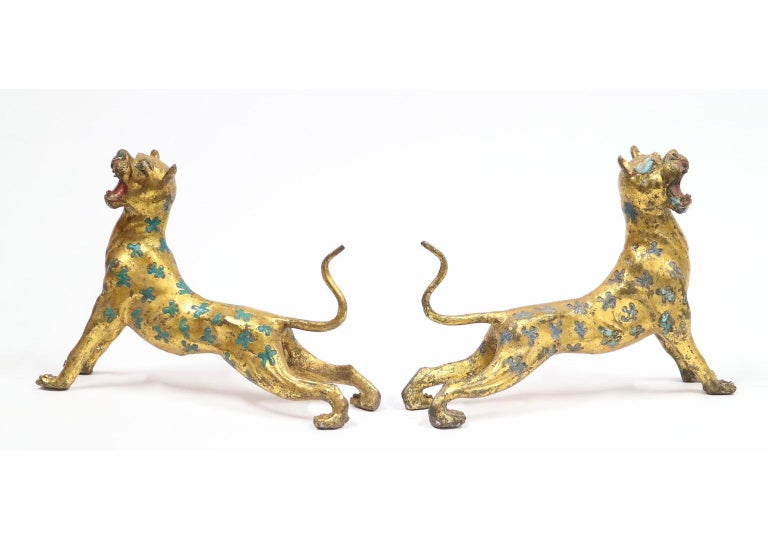 Chinese Export Leopard Cheetahs in Gilt Bronze with Blue and Turquoise Enamel For Sale 2