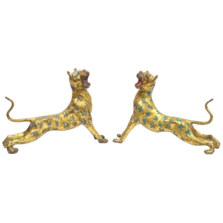 Chinese Export Leopard Cheetahs in Gilt Bronze with Blue and Turquoise Enamel For Sale