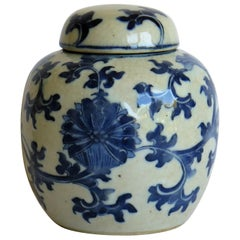 Chinese Export Lidded Jar moulded Porcelain Hand painted Blue and White