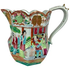Large Mandarin or Famille Rose Chinese Export Porcelain Pitcher