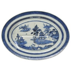 Chinese Export Porcelain Well and Tree Platter in the Nanking Pattern