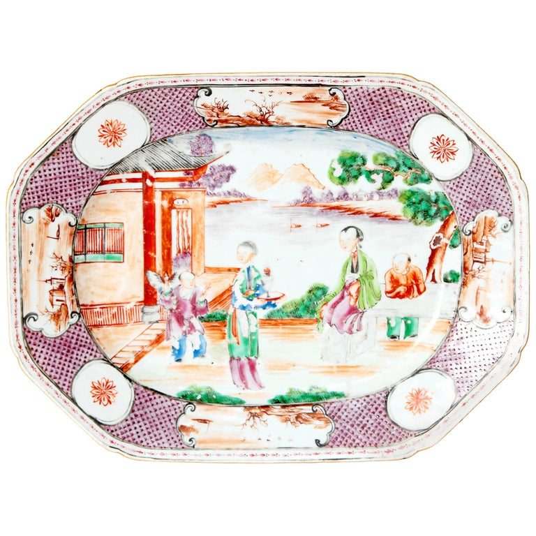 Chinese Export or Manderin Palette Platter For Sale