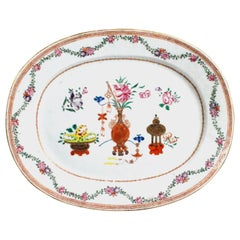 Chinese Export Oval Famille Rose Porcelain Dish