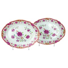 Chinese Export Pair of Platters, Famille Rose, Qianlong '1736-1795'