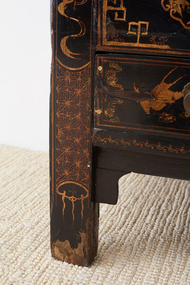 Chinese Export Parcel Gilt Lacquered Wedding Cabinet Chest For Sale 8