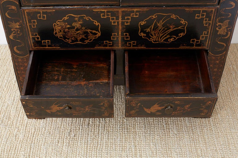 Chinese Export Parcel Gilt Lacquered Wedding Cabinet Chest For Sale 11