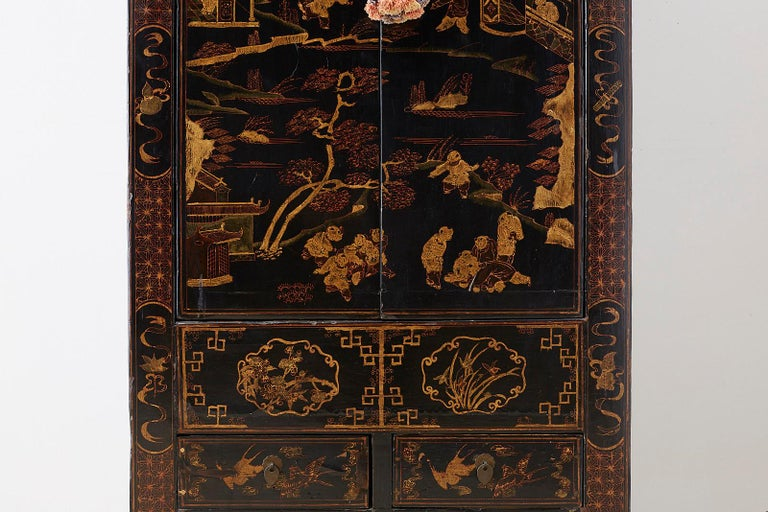 20th Century Chinese Export Parcel Gilt Lacquered Wedding Cabinet Chest For Sale