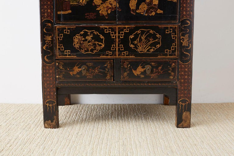 Brass Chinese Export Parcel Gilt Lacquered Wedding Cabinet Chest For Sale