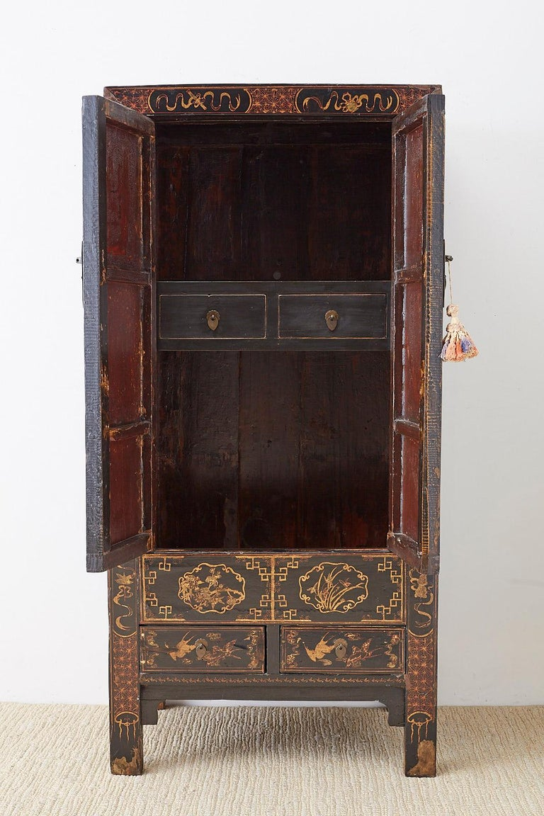 Chinese Export Parcel Gilt Lacquered Wedding Cabinet Chest For Sale 1