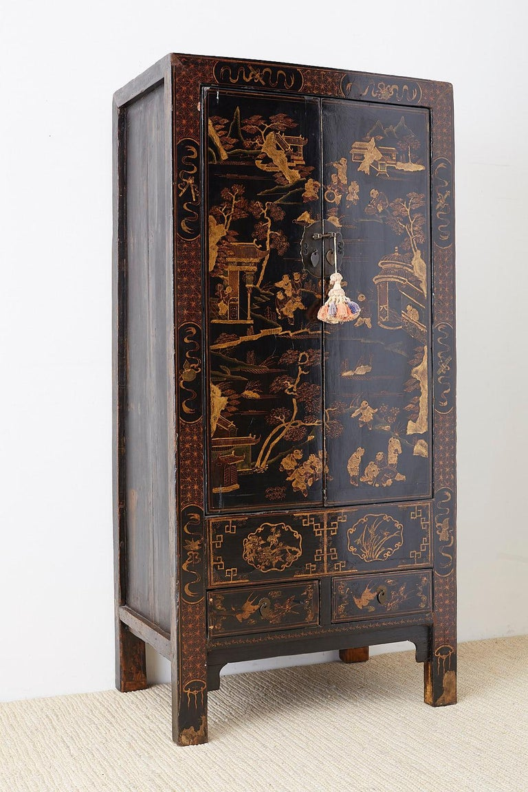 Chinese Export Parcel Gilt Lacquered Wedding Cabinet Chest For Sale 2