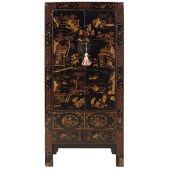 Chinese Export Parcel Gilt Lacquered Wedding Cabinet Chest