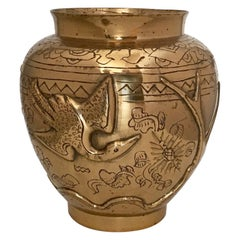 Chinese Export Phoenix Vase in Brass, Mid-20th Century