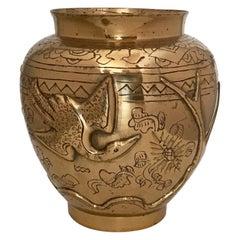 Chinesischer Export Phoenix Vase aus Messing, Mitte 20. Jahrhundert