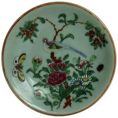 Chinese Export Plate Celadon Glaze Famille Rose Hand Painted, Qing, circa 1820