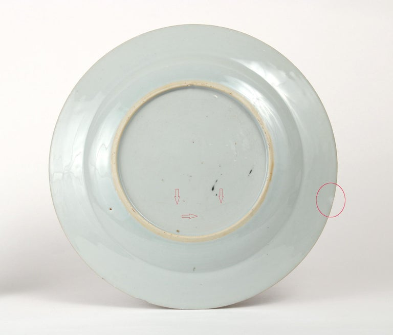 Chinese Export Plate Decorated with a Music Party, circa 1745 In Fair Condition For Sale In St. Louis, MO