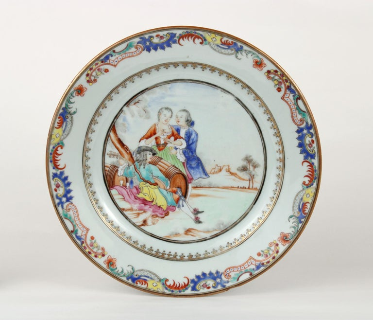 Chinese Export Plate Decorated with a Music Party, circa 1745 For Sale 1