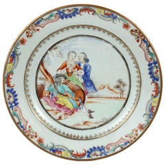 Chinese Export Plate Decorated with a Music Party, circa 1745