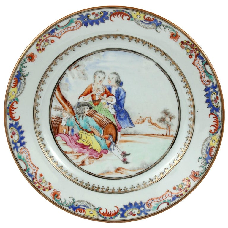 Chinese Export Plate Decorated with a Music Party, circa 1745 For Sale