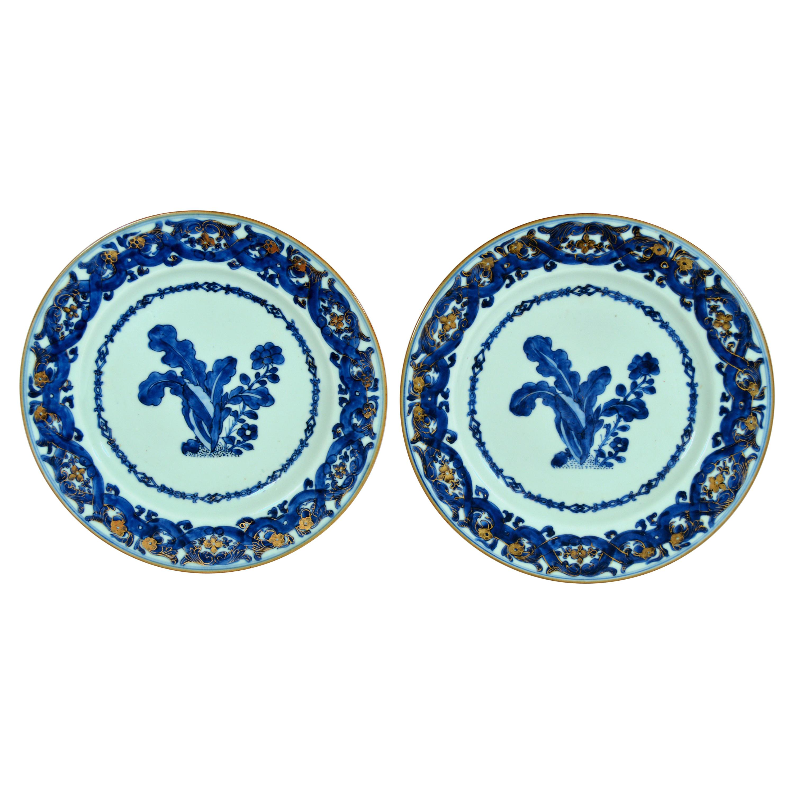 Chinese Export Porcelain Blue and White Porcelain After Maria Sybille Merian