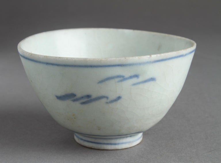 Chinese export porcelain blue and white teacup, possibly from the Nanking cargo auction, Christie's, 1986. Measures: 2
