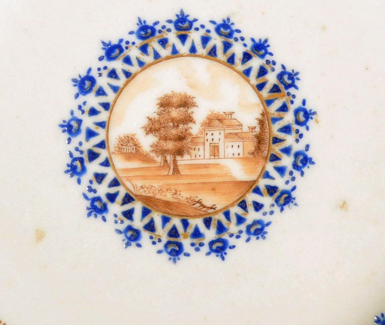 Chinese Export Porcelain Blue Enamel Plate Made for the American Market In Good Condition For Sale In Downingtown, PA