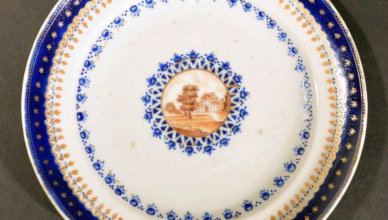 Late 18th Century Chinese Export Porcelain Blue Enamel Plate Made for the American Market For Sale