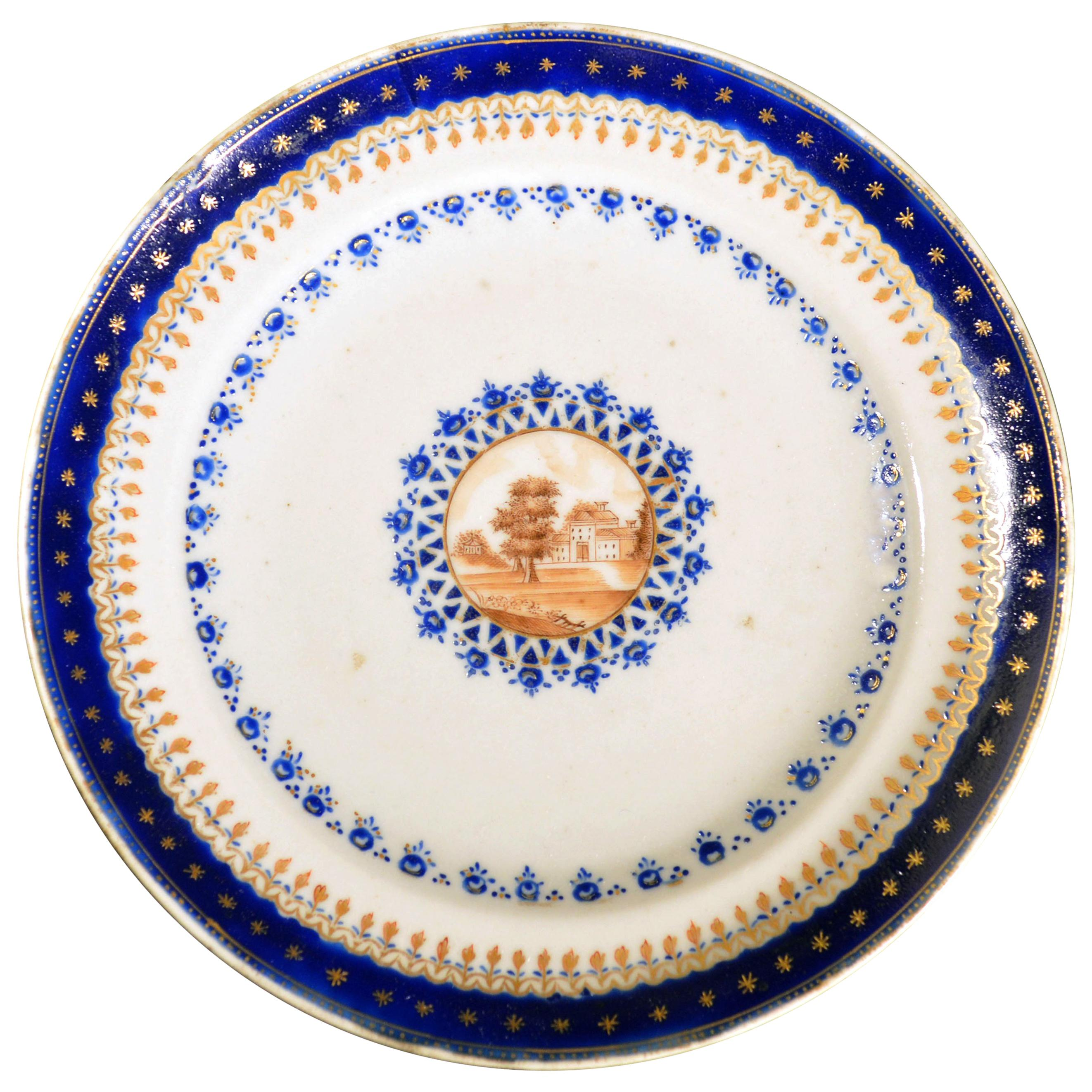 Chinese Export Porcelain Blue Enamel Plate Made for the American Market