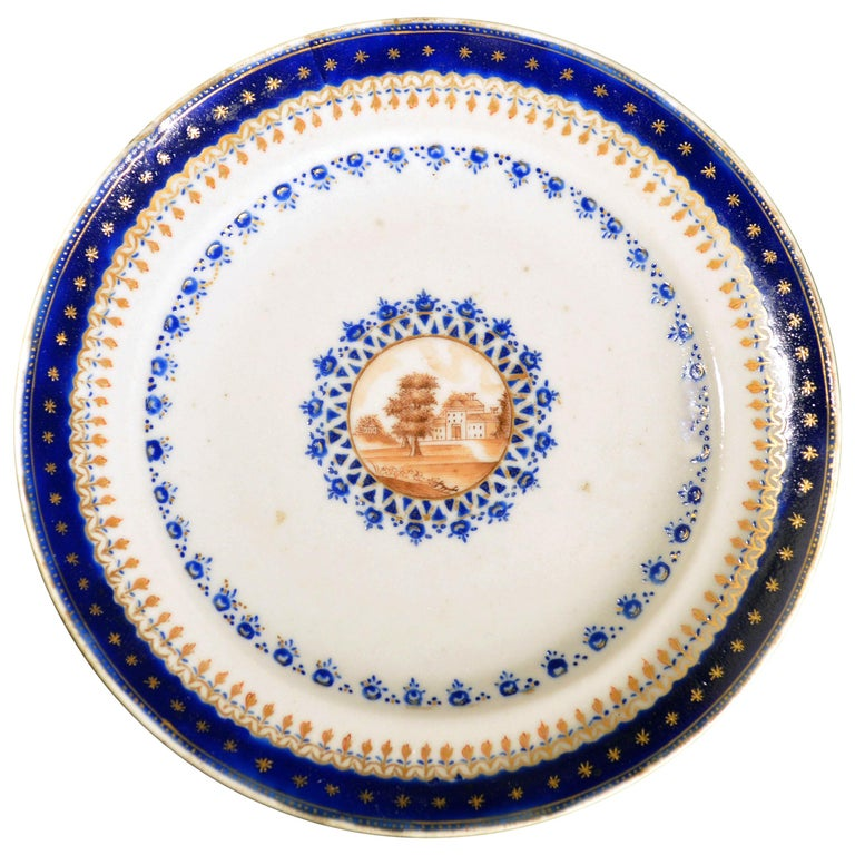 Chinese Export Porcelain Blue Enamel Plate Made for the American Market For Sale